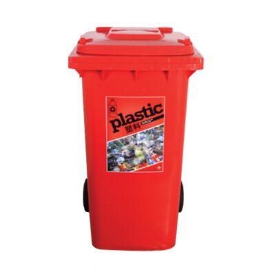 red plastic recycling bin