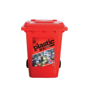 red plastic recycling bin